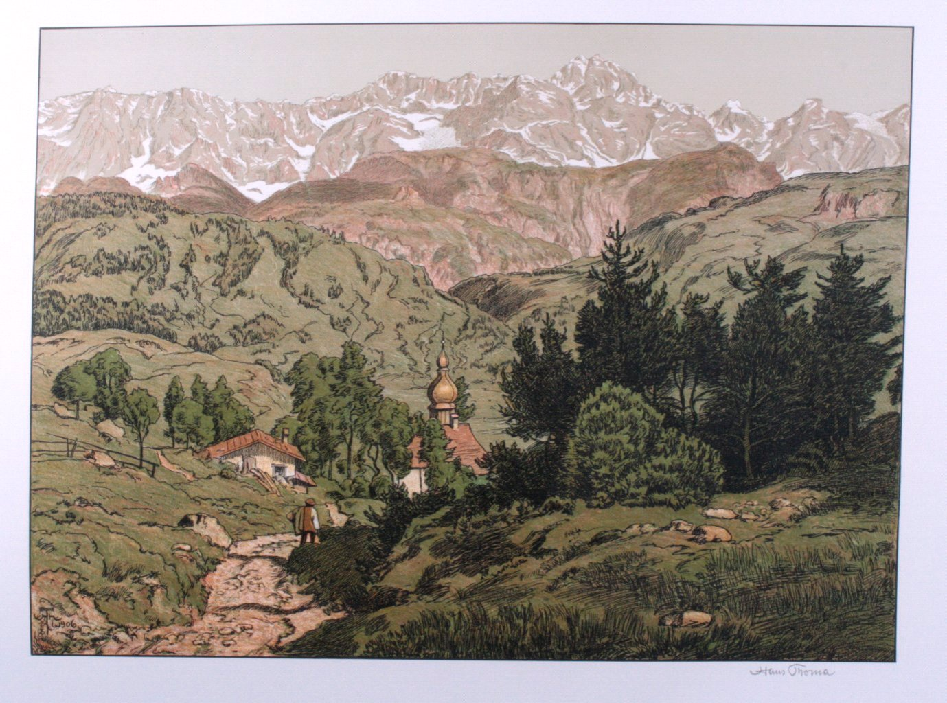 Hans Thoma 1839-1924. Berglandschaft mit Kirche (1906)