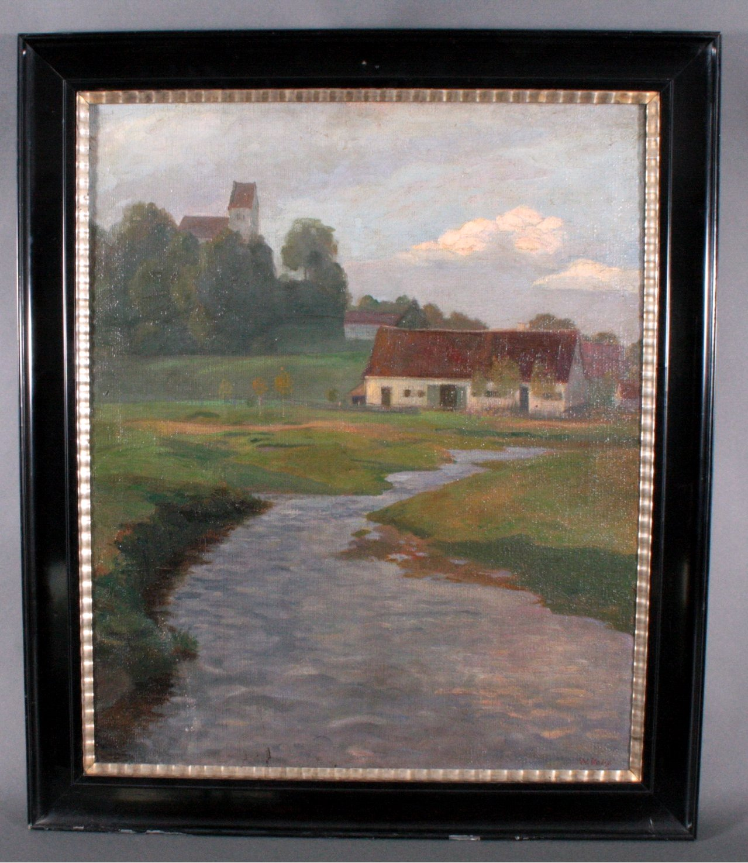 W. Volz (1855-1901). Landschaft mit Gebäuden und Flußlauf