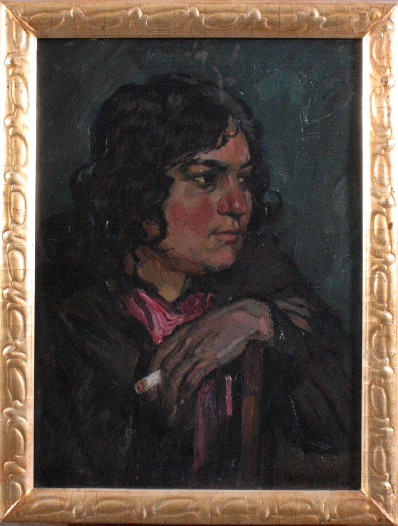 Hans Adolf Müller 1888-1934, Damenportrait mit Zigarette