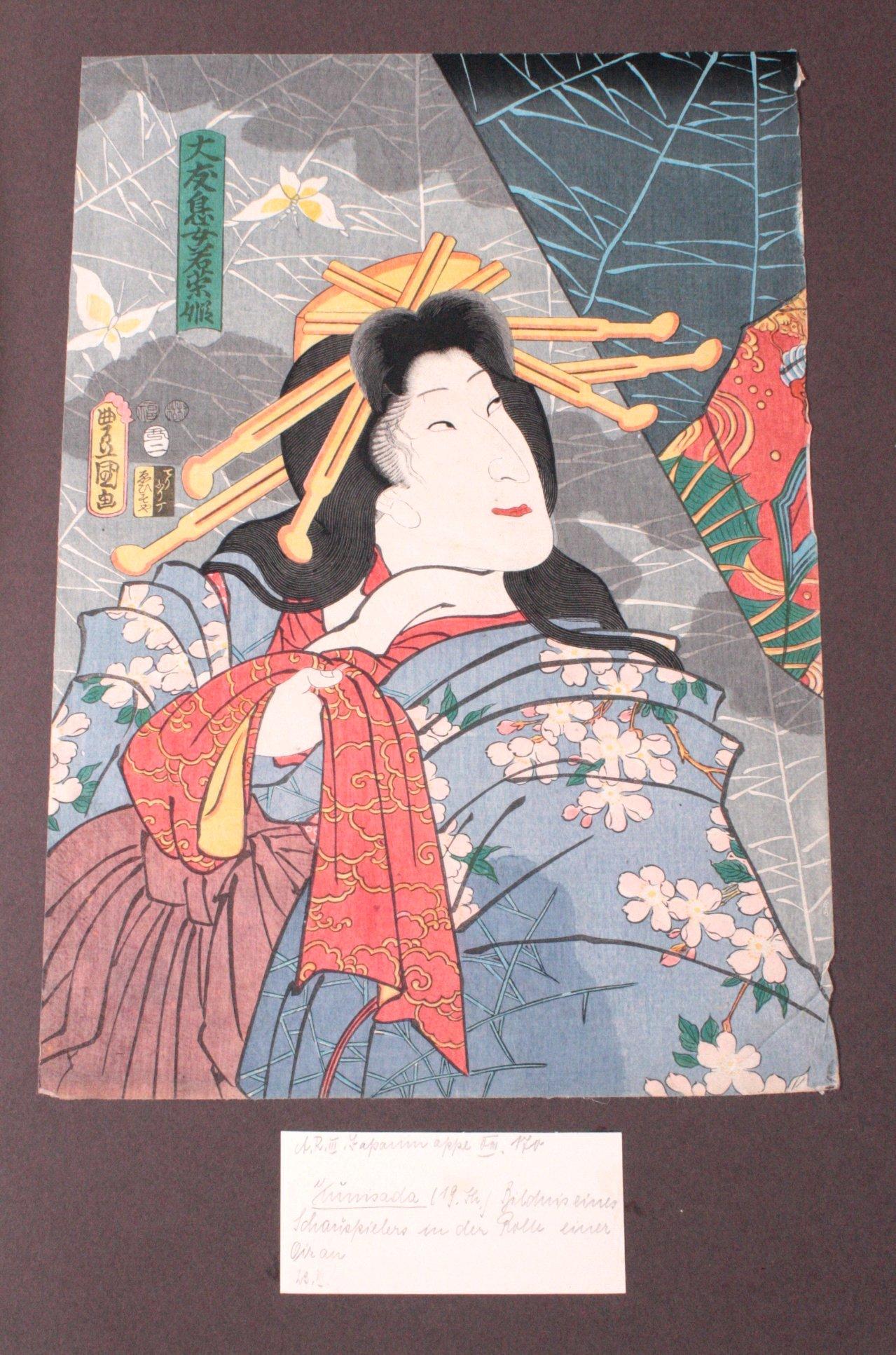 Japan 19. Jh. Farbholzschnitt, Oban