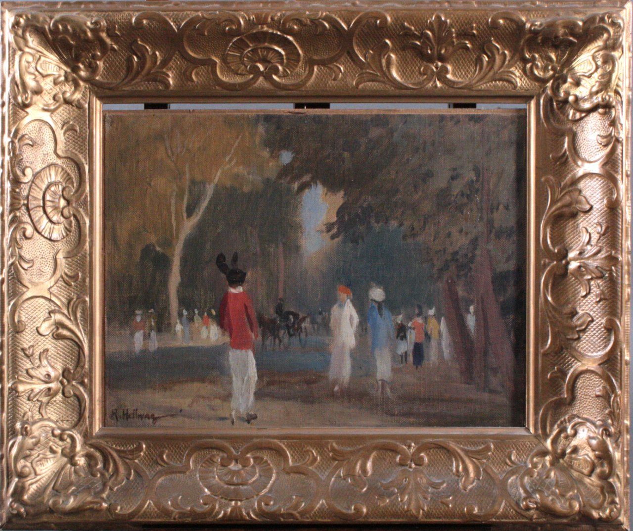 """Rudolf HELLWAG (1867-1942) """"Im Bois de Bologne"""""""