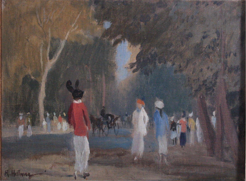 """Rudolf HELLWAG (1867-1942) """"Im Bois de Bologne""""-1"""