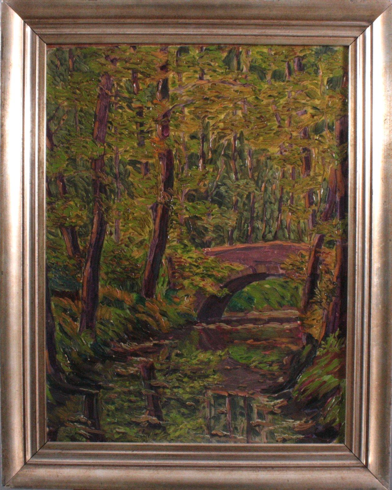 Unbekannter Künstler, Flußlandschaft mit Brücke