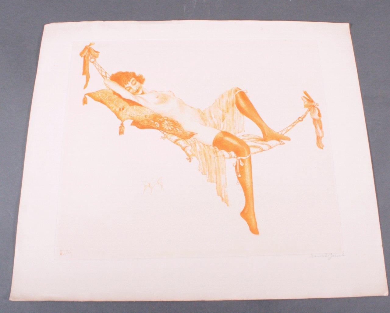 Ernst Busch 1920, Junge Dame auf Hängematte im Neglige