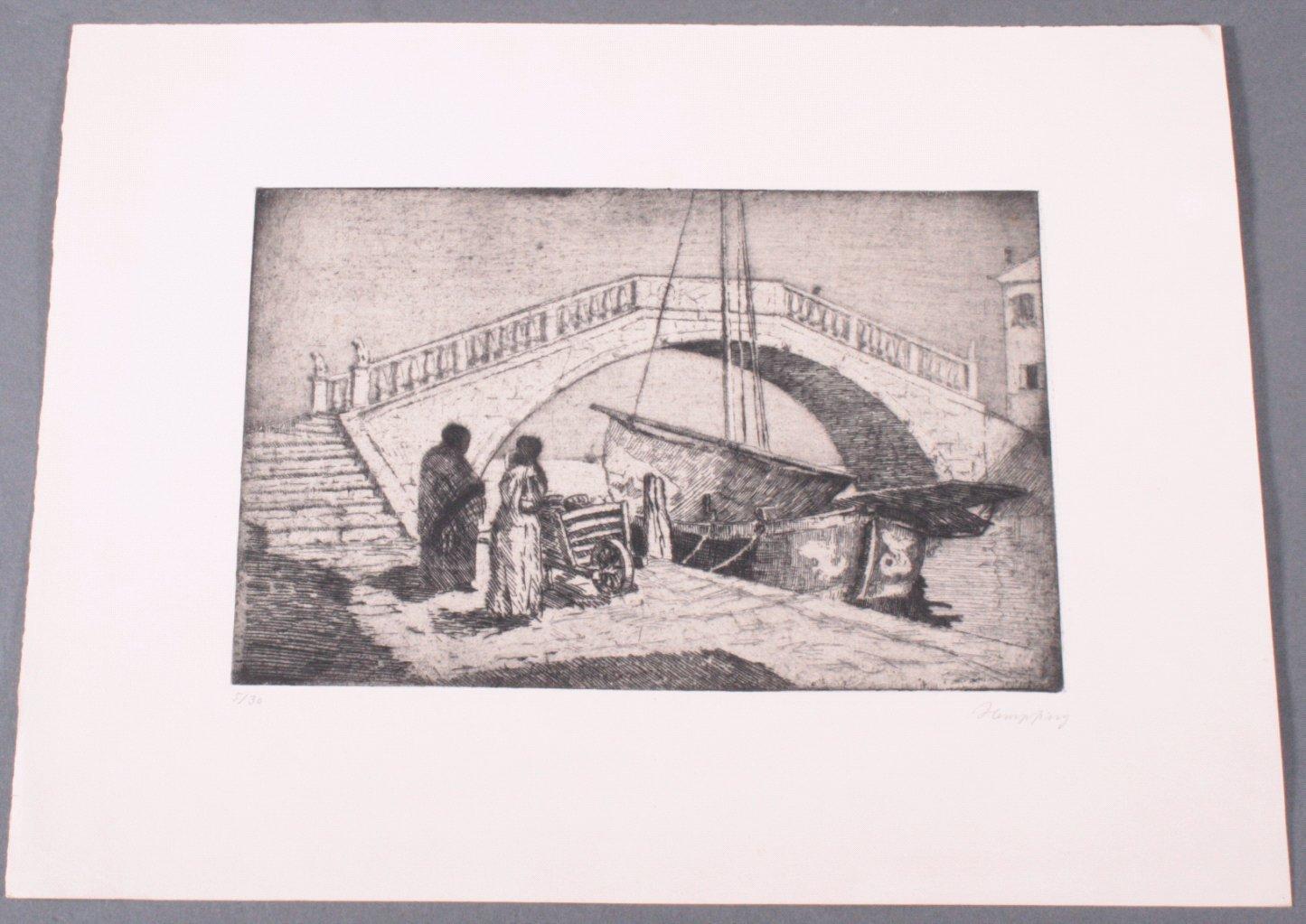 "Wilhelm HEMPFING (1886-1948) ""Brücke in Venedig"""