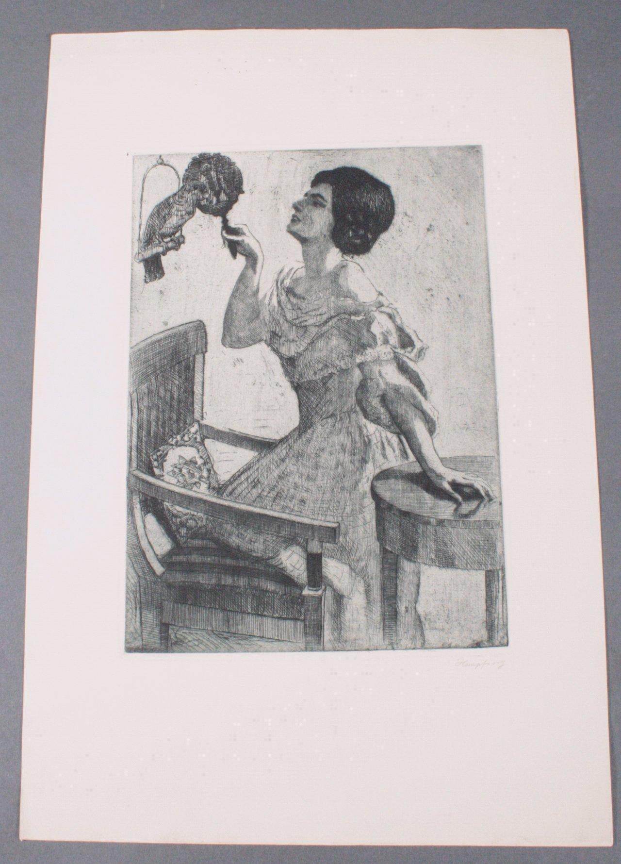 """Wilhelm HEMPFING (1886-1948) """"Frau mit Papagei"""""""