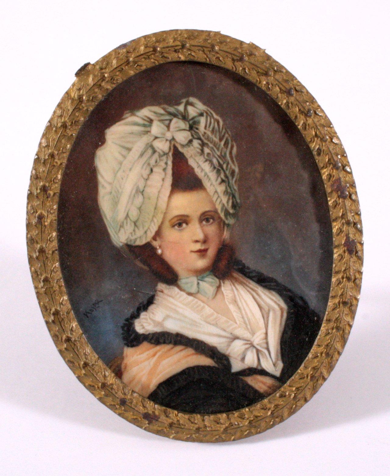Elfenbeinminiatur, Dame mit Hut, 19. Jh.