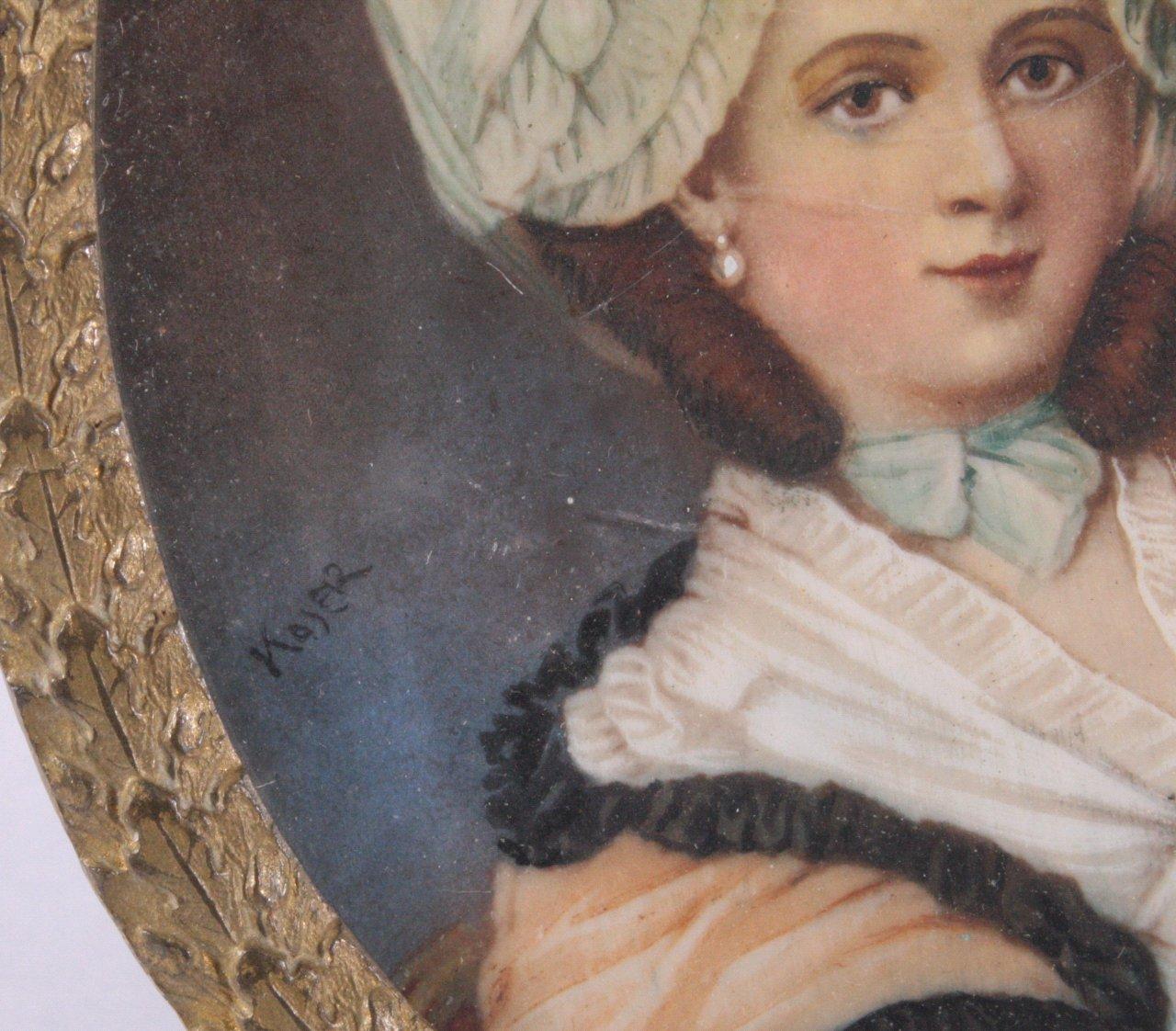 Elfenbeinminiatur, Dame mit Hut, 19. Jh.-1
