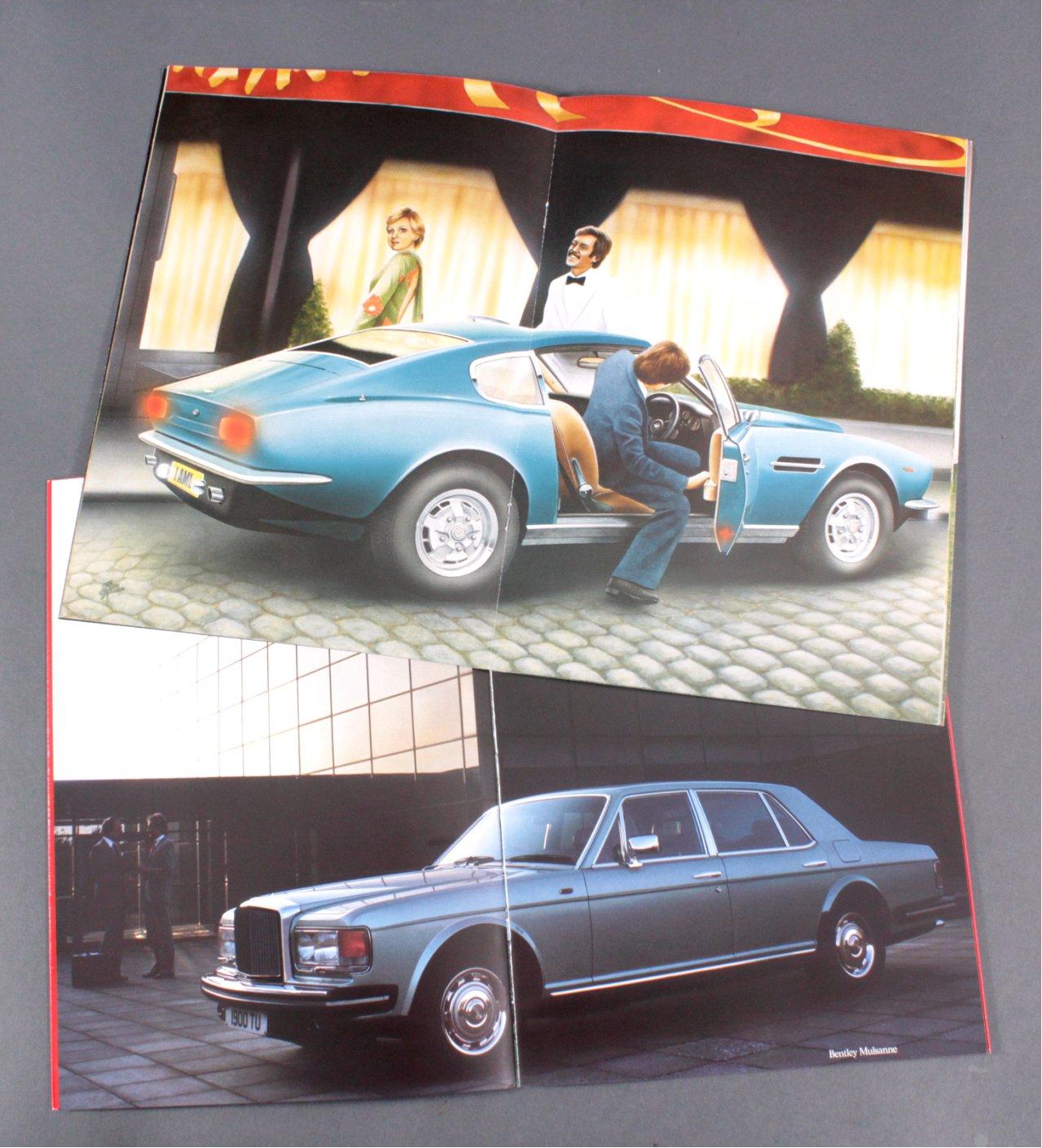 AUTOPROSPEKTE ASTON MARTIN 1975 , BENTLEY MULSANNE 1982-1