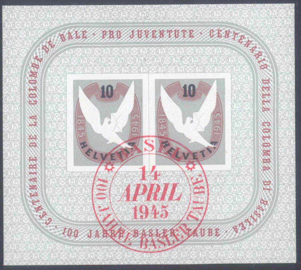 SCHWEIZ 1945, BASLER TAUBE – Block