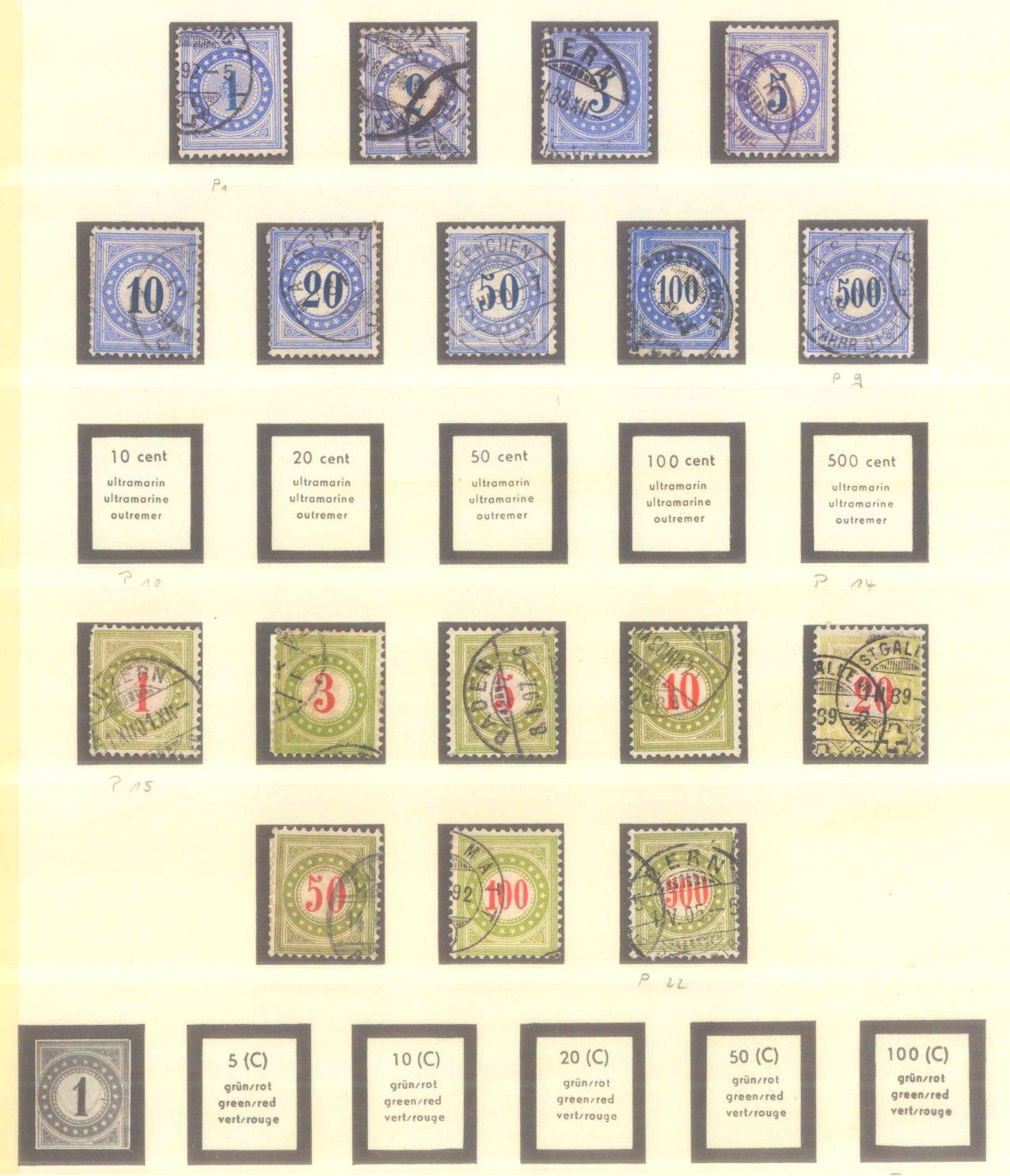 SCHWEIZ 1878-1938, Dienst, Porto, Katalogwert 350 Euro