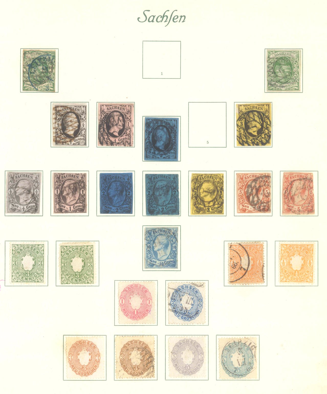 SACHSEN 1851-1863, interessante Sammlung …