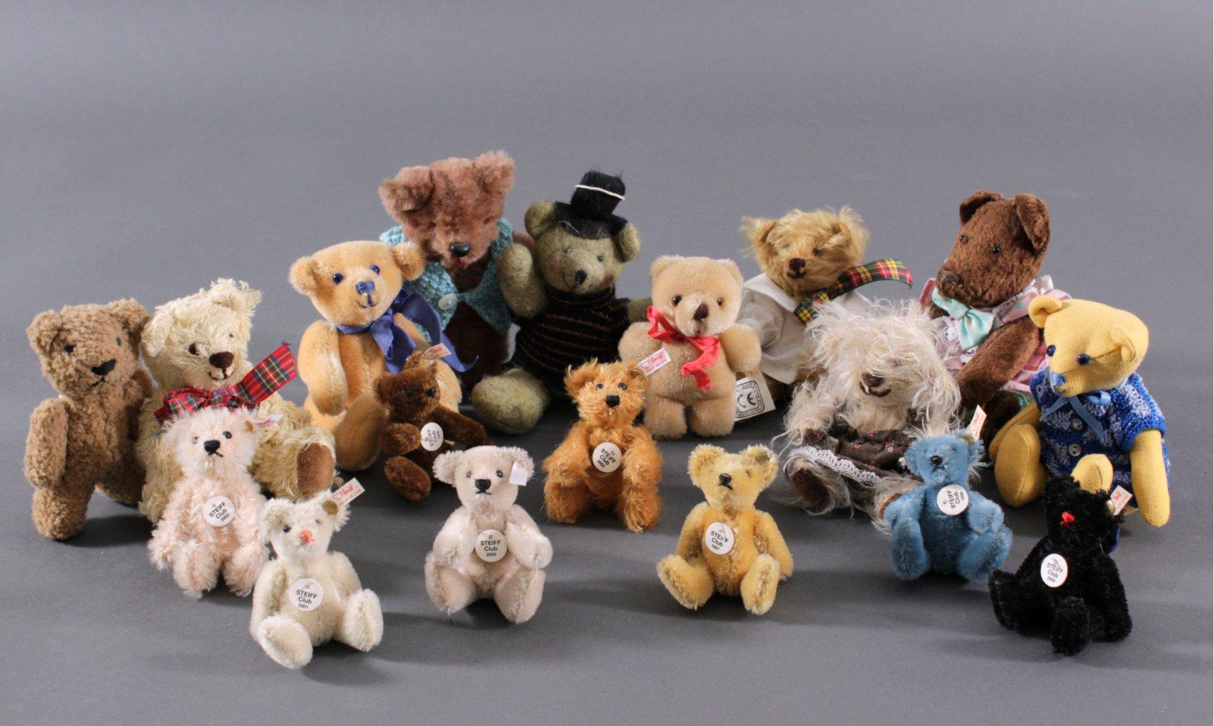 Sammlung kleiner Teddybären, u.a. Steiff, 18 Stück