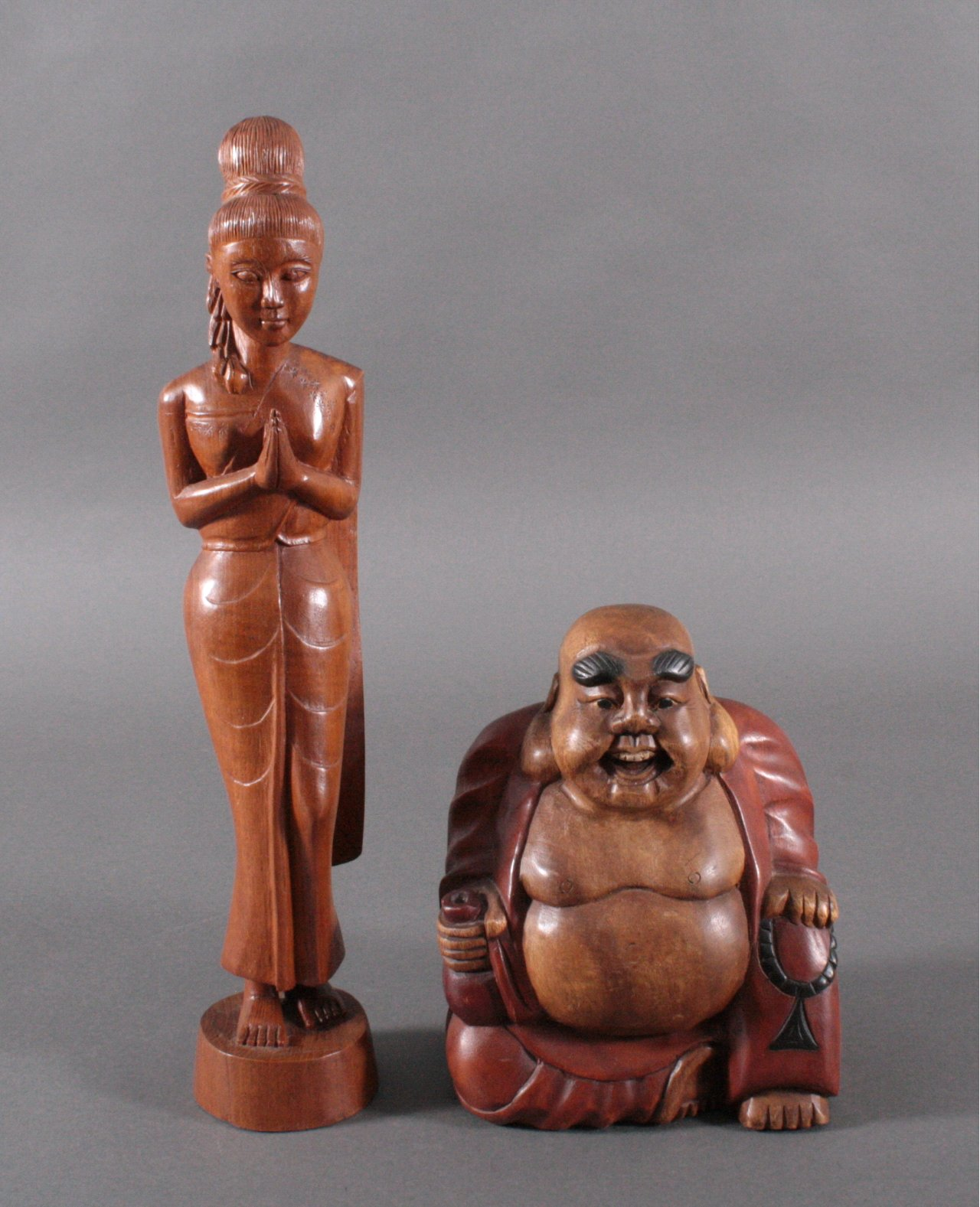 2 asiatische Holzskulpturen