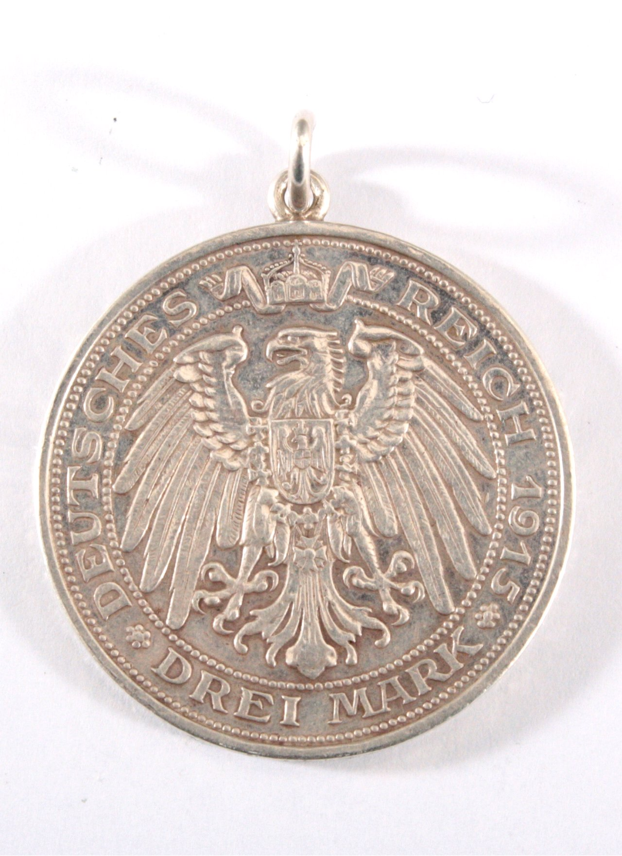 "Gehänkelte Münze ""Preussen 3 Mark Mansfeld 1915 A"", in vz-1"