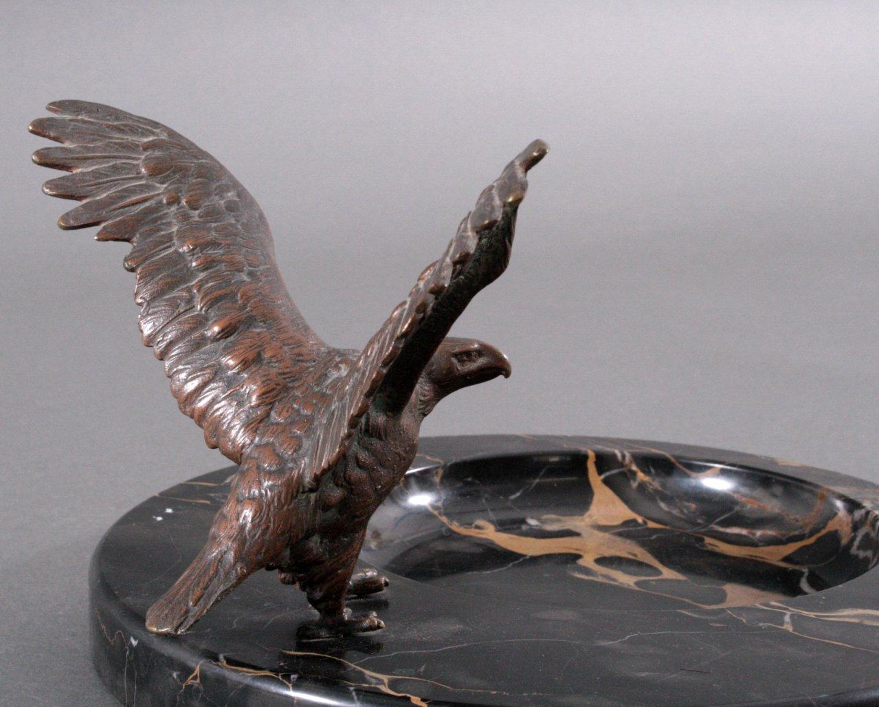 Schreibtischgarnitur mit Bronzeadler, Art Deco-2