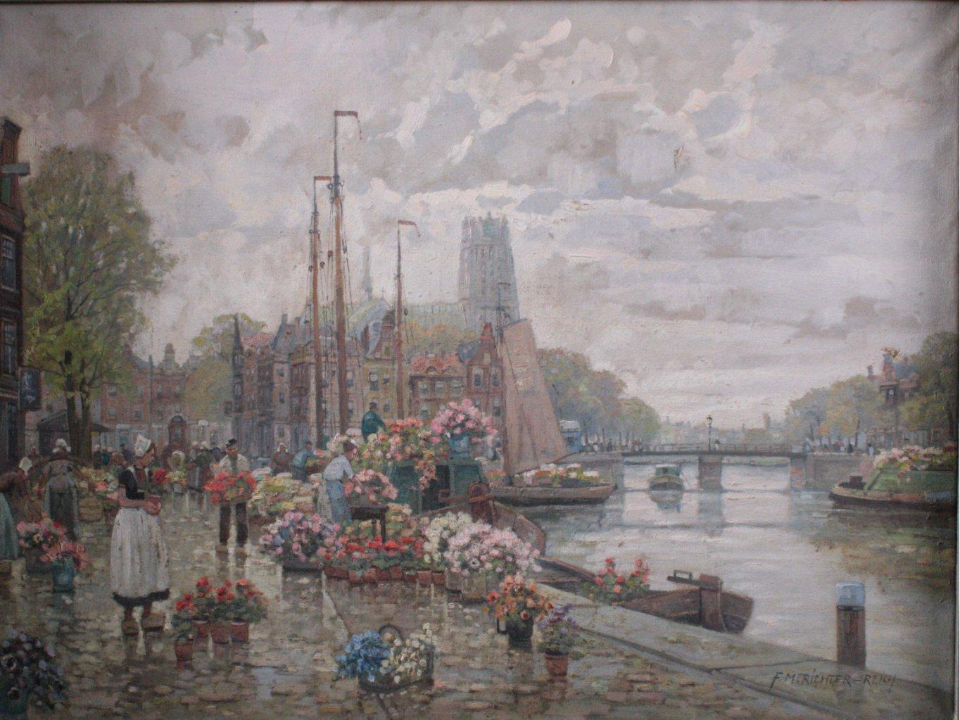 F. Max Richter-Reich 1896-1950. Holländischer Blumenmarkt-1