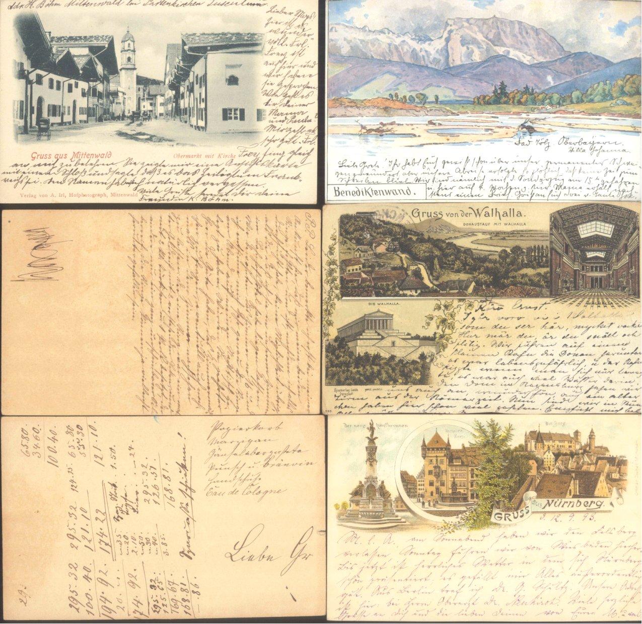 BAYERN 1893-1901 GRUSS AUS…Mittenwald, Walhalla, Nürnberg
