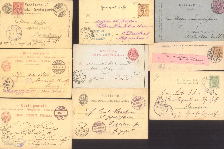 BELEGEPOSTEN aus dem ALTEN EUROPA 1884-1905, 20 GANZSACHEN-1
