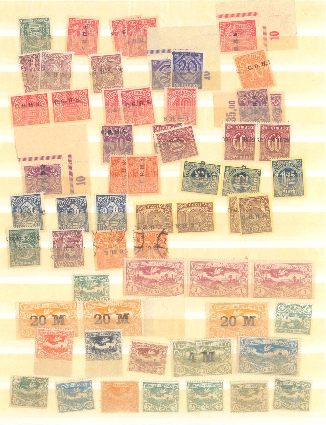 OBERSCHLESIEN 1920, Freimarken und Dienstmarken