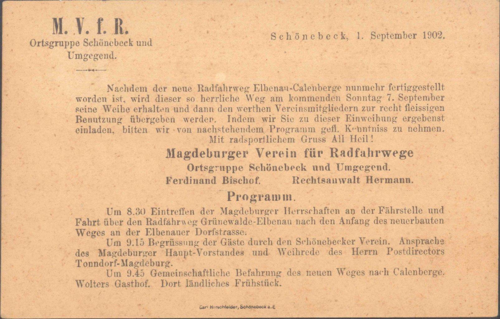 MOTIV RADFAHRER! 1902 SCHÖNEBECK, HEIMAT MAGDEBURG