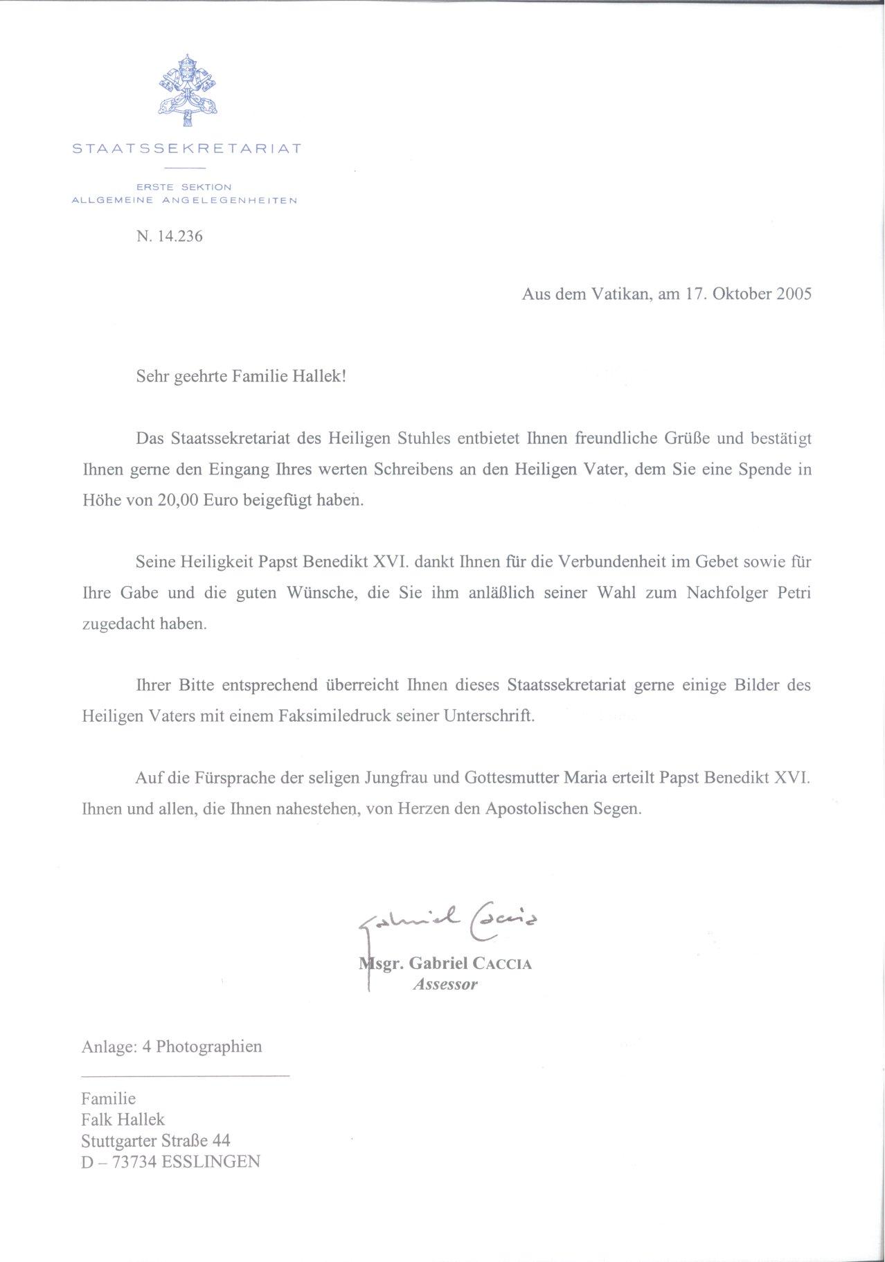 2005 VATIKANSTAAT, Schreiben vom STAATSSEKRETARIAT-1