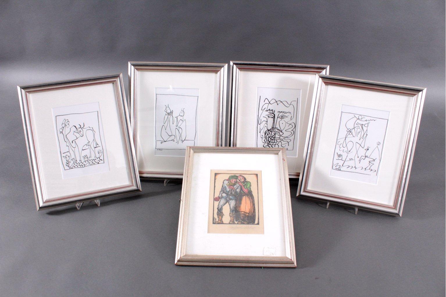 Picasso. 4 Lithographische Abzüge