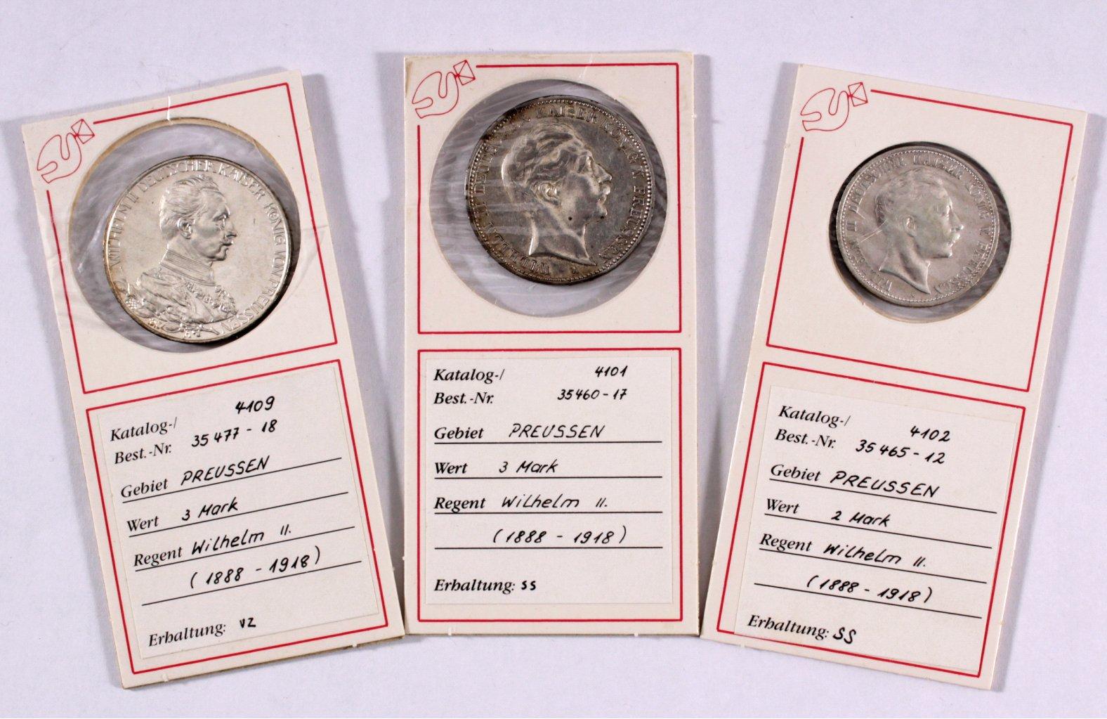 3 Silbermünzen Preussen, alle in ss