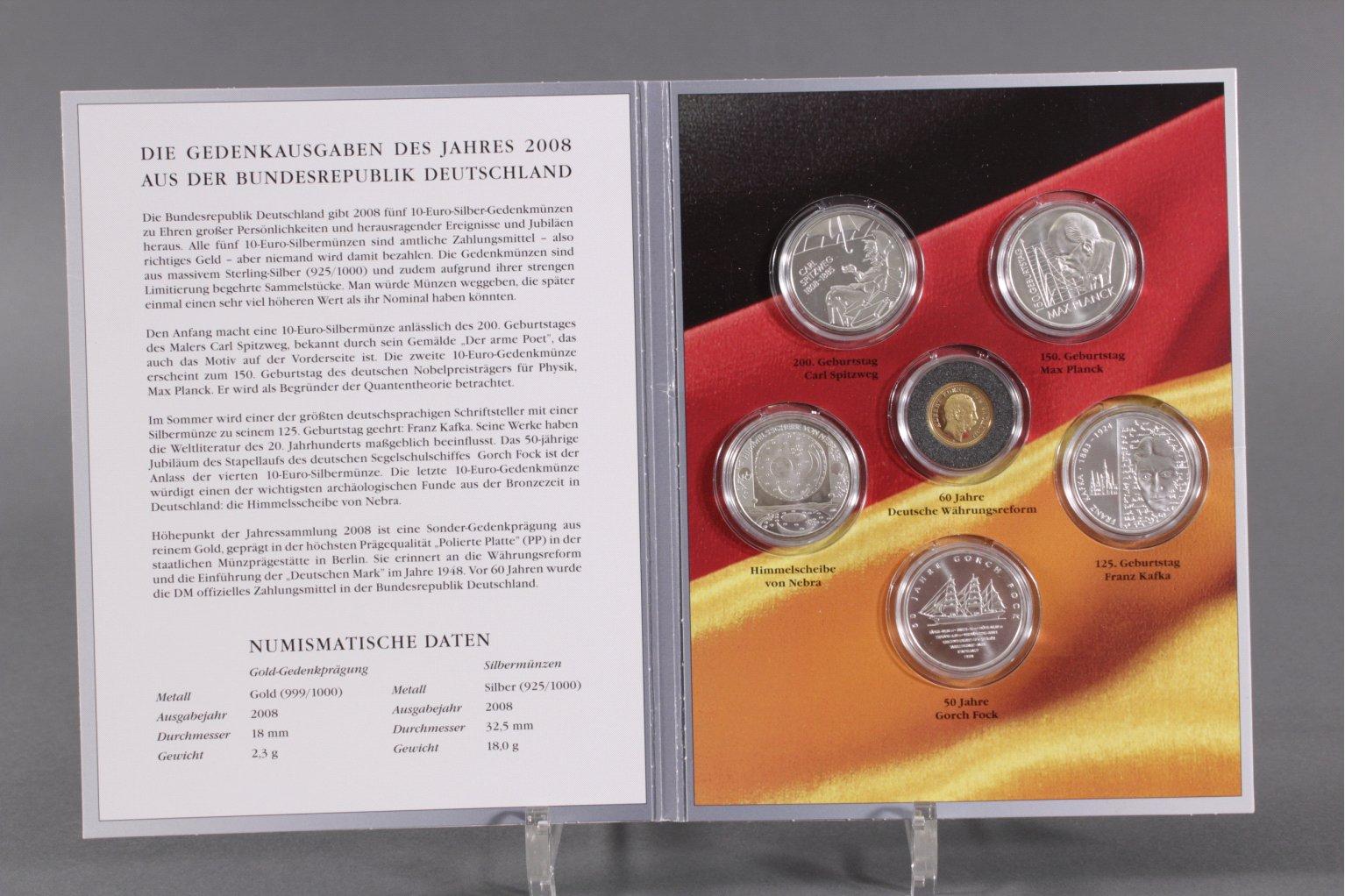Die Gedenkausgaben des Jahres 2008, inkl. Goldmünze