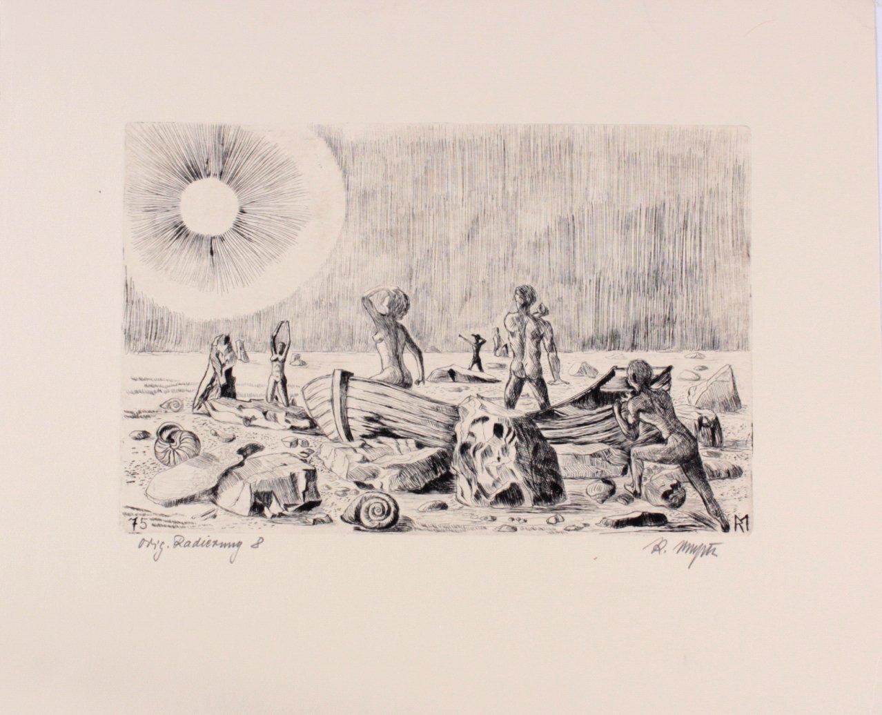 Kaltnadelradierung mit Plattenton, 20. Jh.