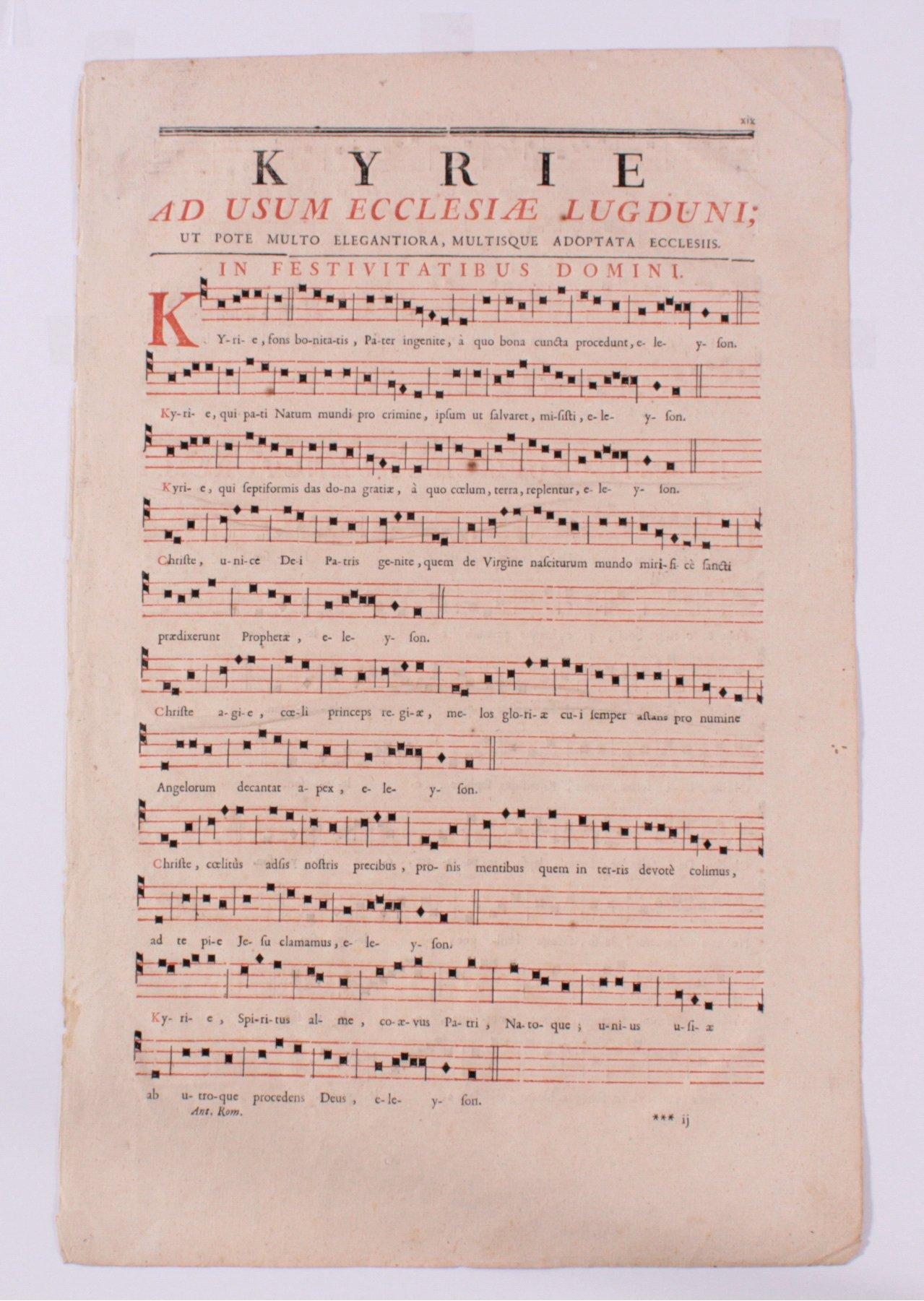 Kupferstich in Schwarz-rot. Notenblatt 18. Jh.