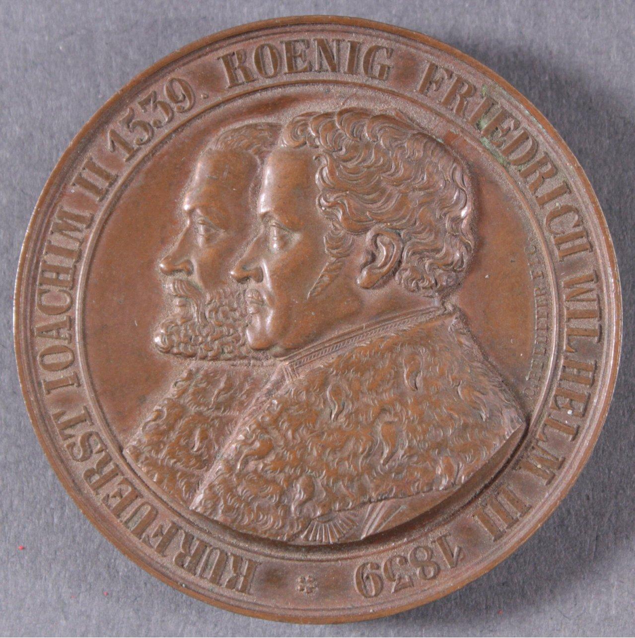 Bronze Medaille Kurfürst Joachim II, 1839, Pfeuffer