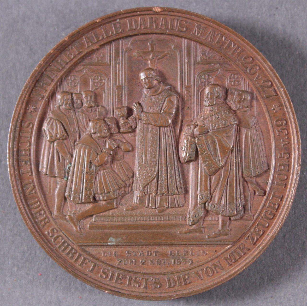 Bronze Medaille Kurfürst Joachim II, 1839, Pfeuffer-1