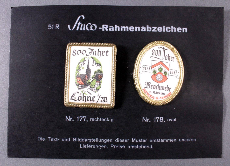 Stuco Abzeichenkarton mit 2 Abzeichen, Löhne und Brackwede