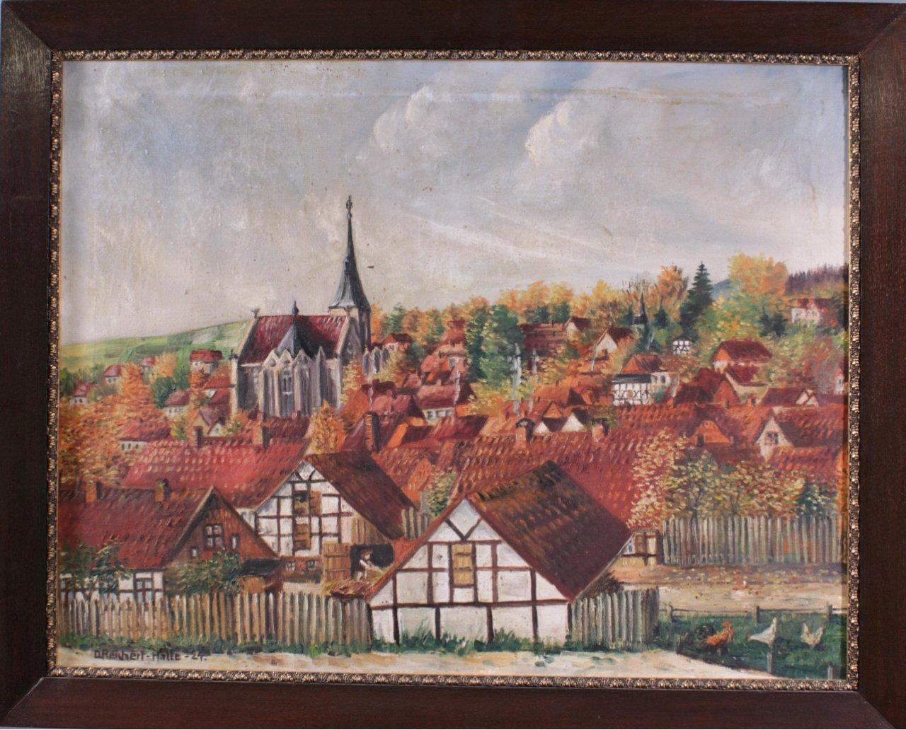 """D. Reichert-Halle. """"Ansicht von Elbingerode"""""""