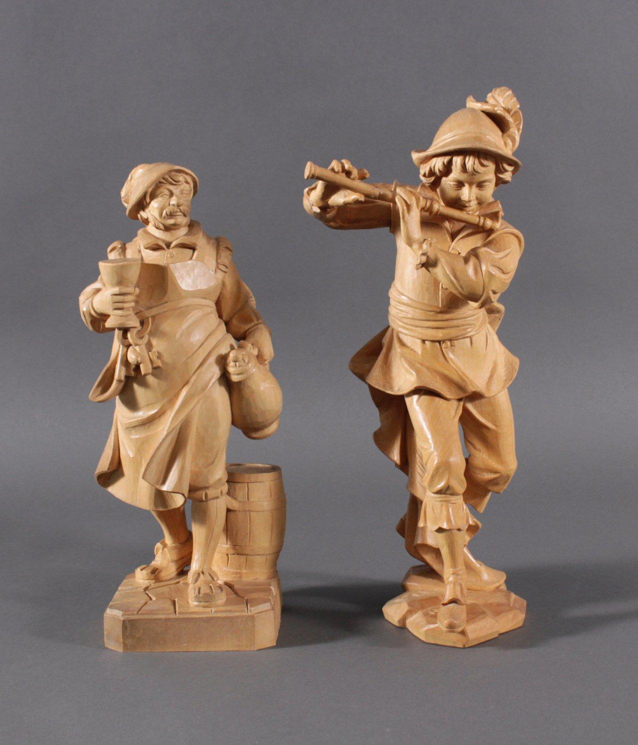 2 Holz-Skulpturen, Flötenspieler und Weinbauer