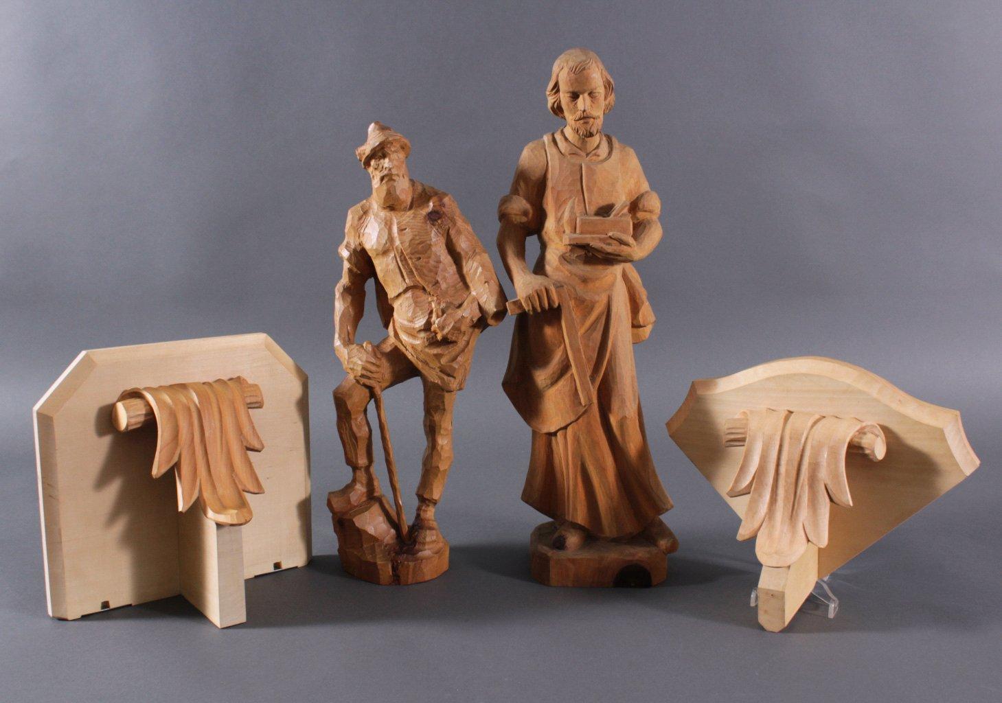 2 Holz-Skulpturen, Joseph, der Zimmermann  und Wandersmann