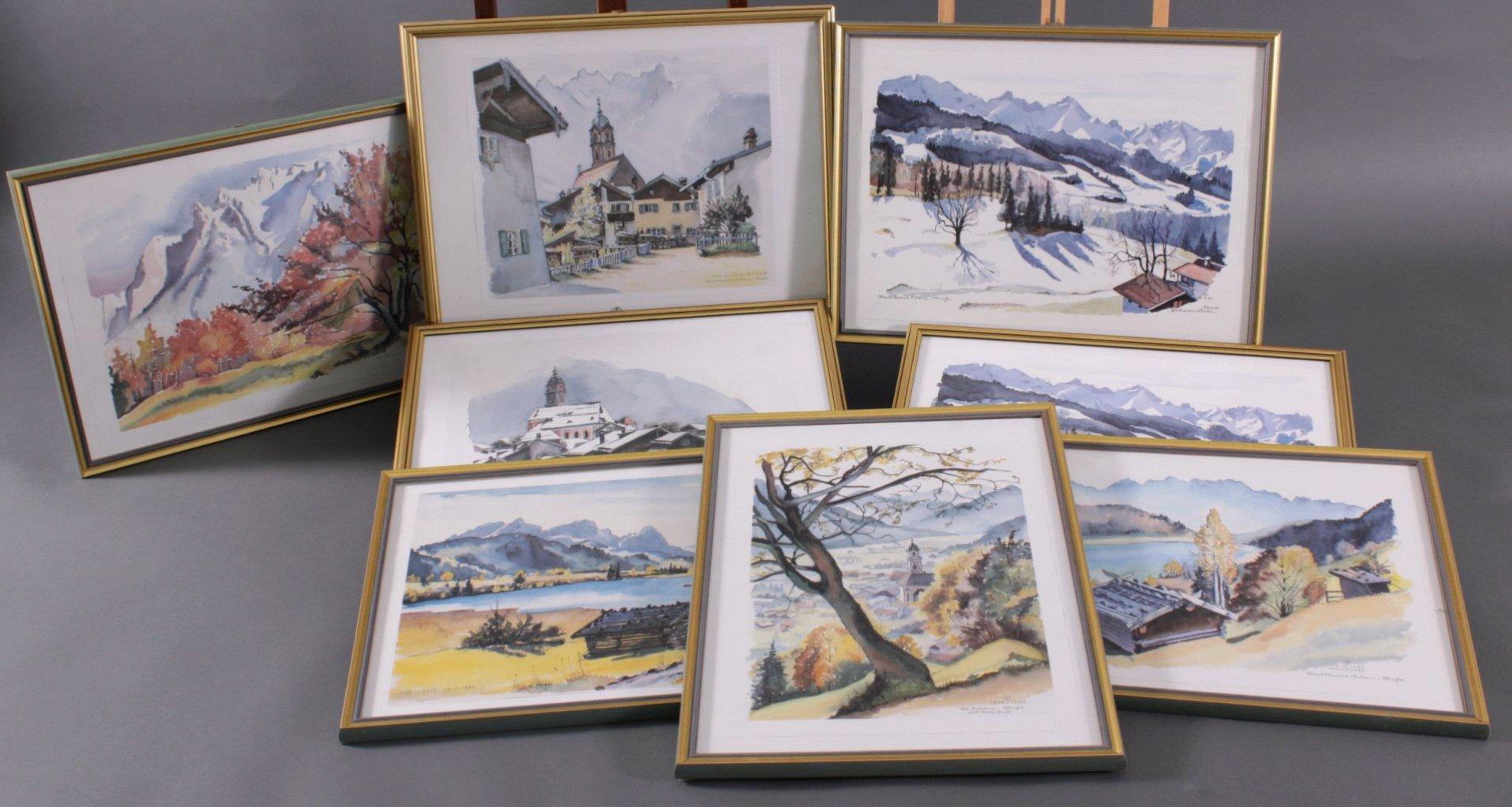 Bauer ?-?, Bilderserie von insg. 8 Gemälden