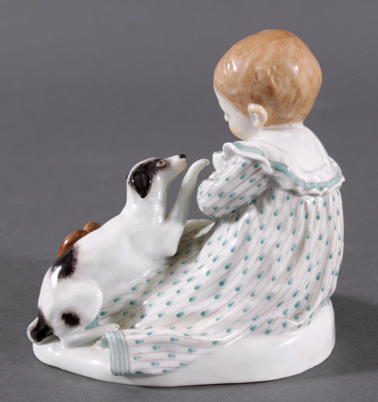 Meissen Figur, Kind mit Hund. Entwurf Paul Rumrich-2