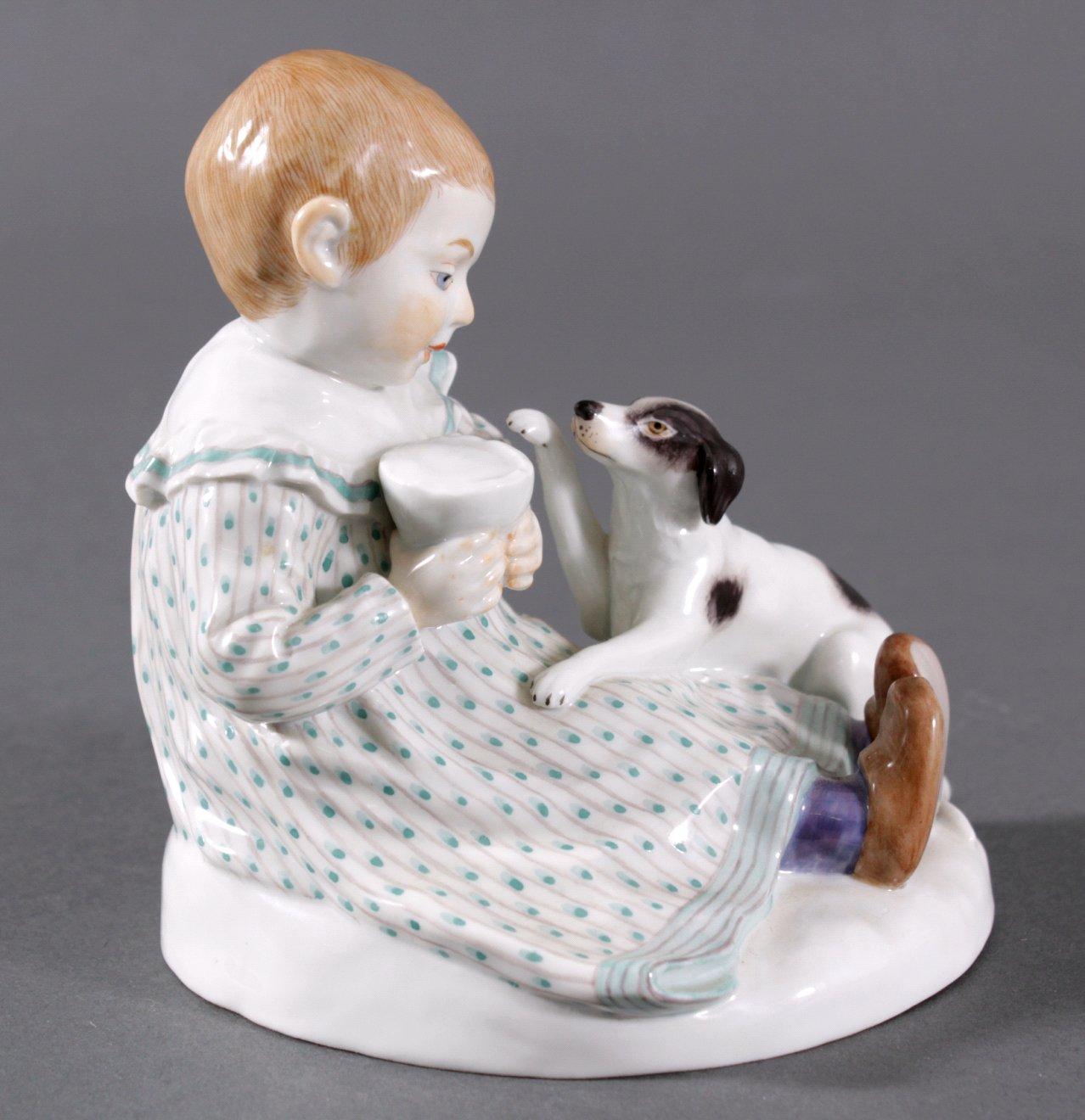 Meissen Figur, Kind mit Hund. Entwurf Paul Rumrich-4