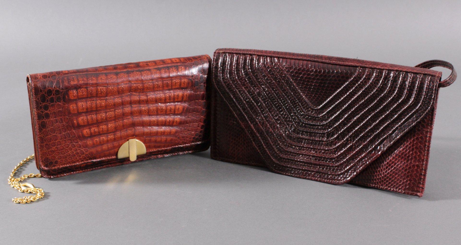 2 Damenhandtaschen aus Krokodilleder