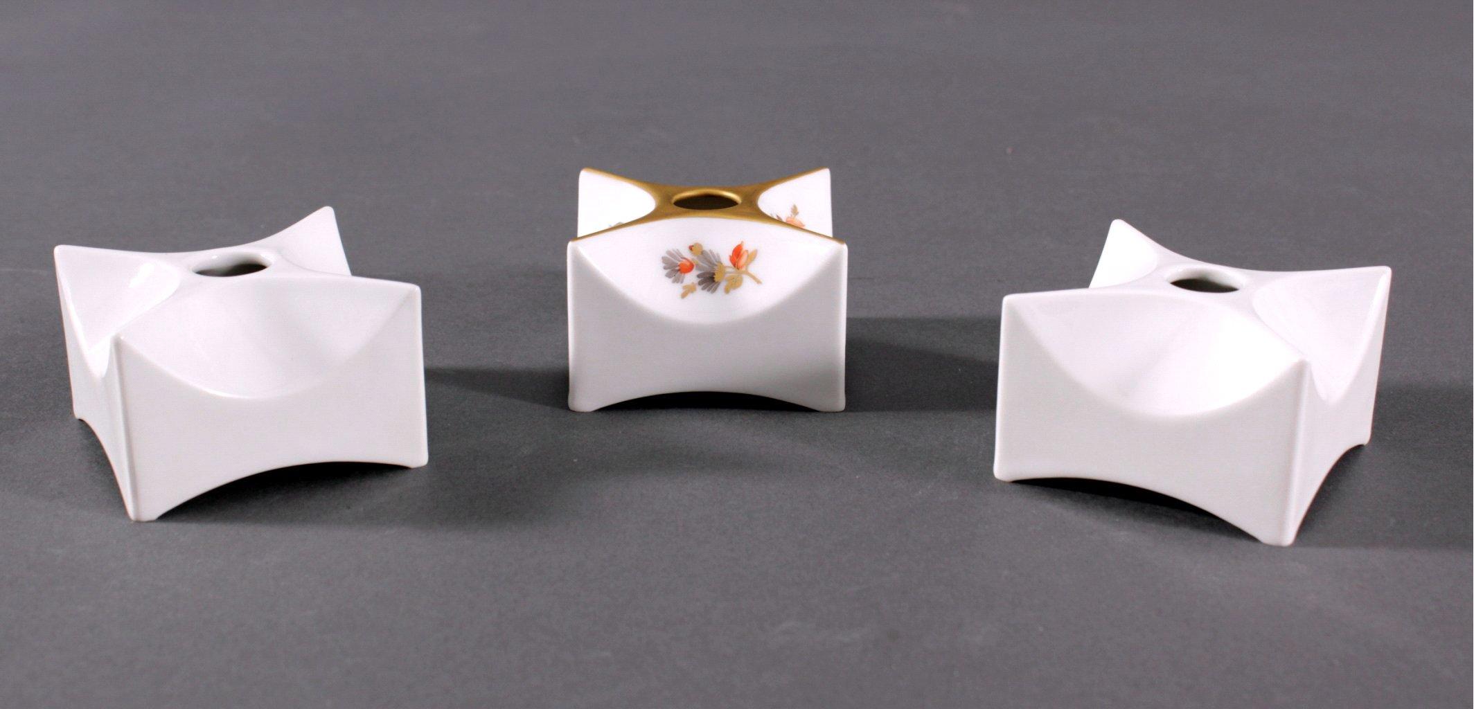 3 kleine KPM Würfelvasen, Design Quillmann