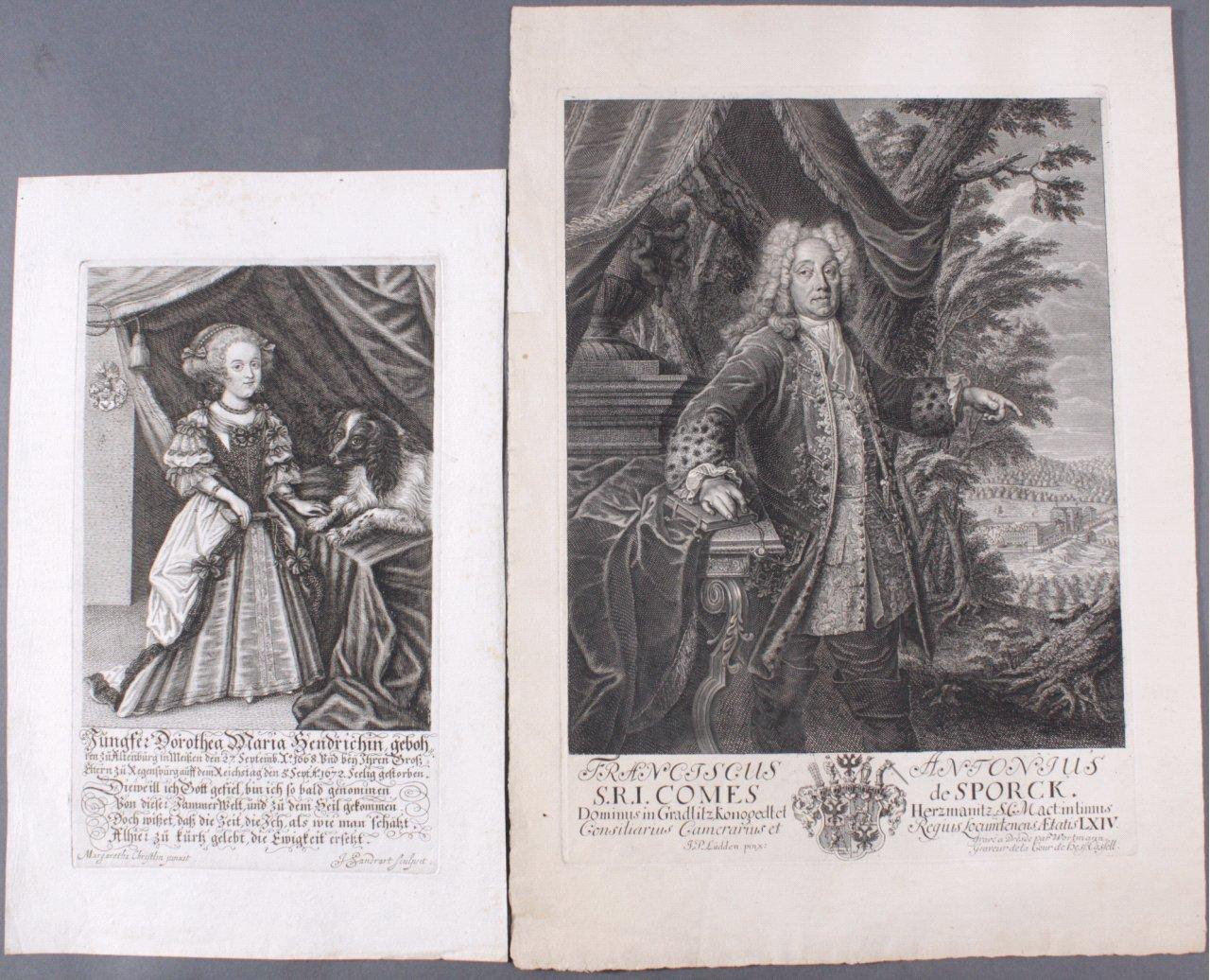 2 Portraits, Kupferstich 17. Jahrhundert