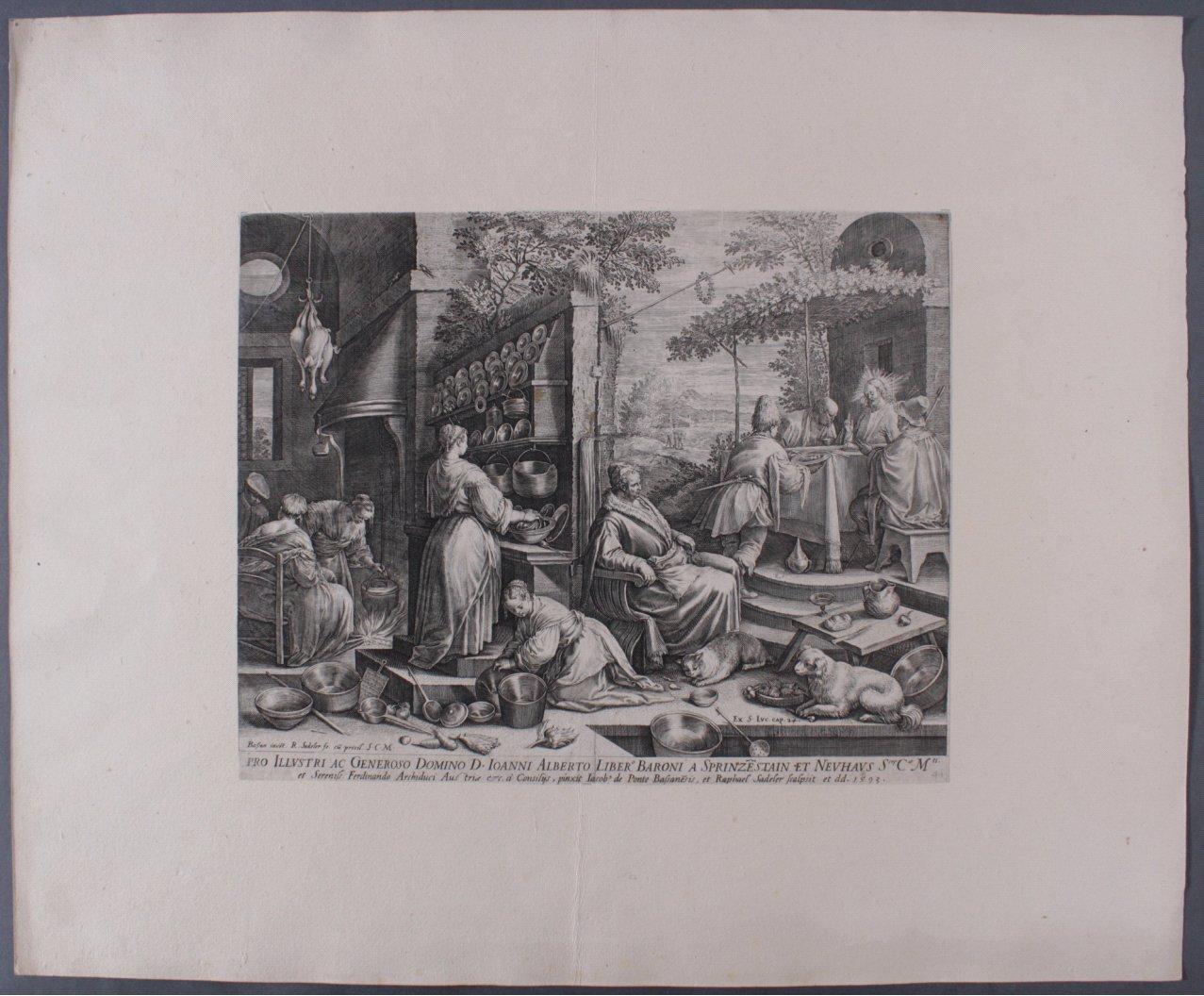 """Raphael Sadeler (1560-1628/1632), """"Christus in Emmaus""""-1"""