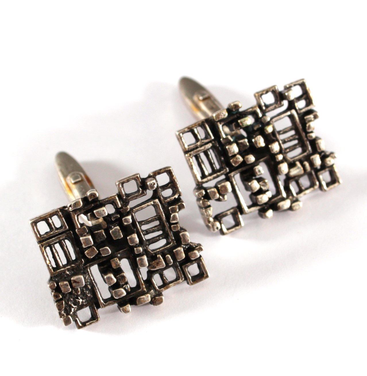 Paar Silber Manschettenknöpfe-1