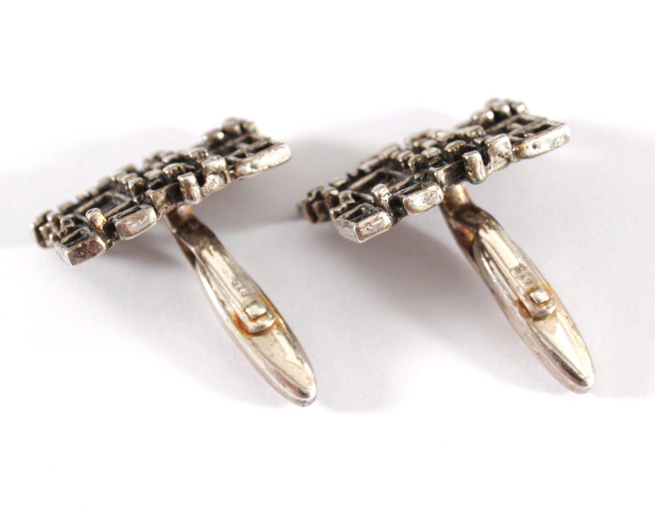 Paar Silber Manschettenknöpfe-2