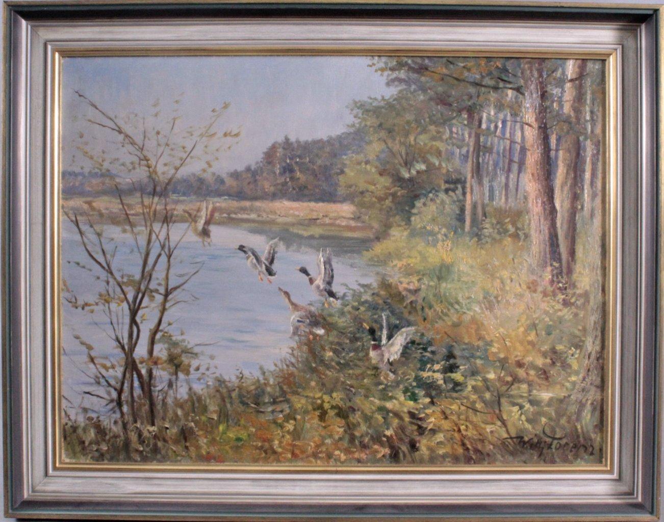 Willi Lorenz 1901-1981. Aufsteigende Enten am See
