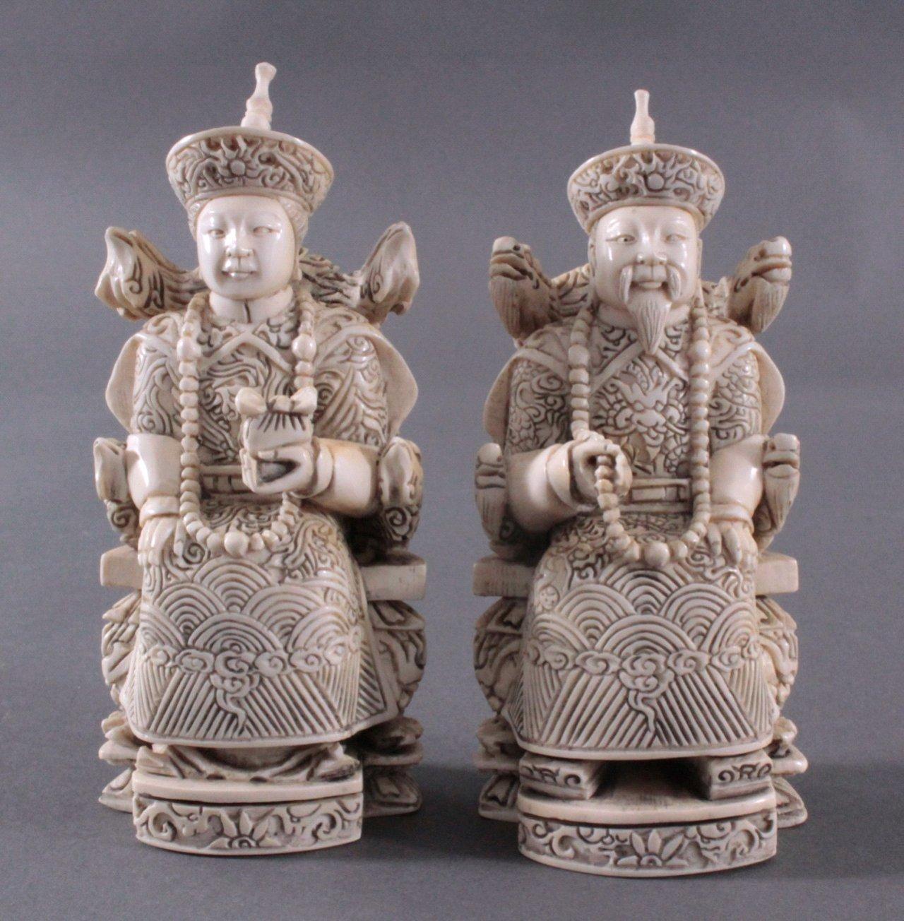 Kaiserpaar aus Elfenbein, China um 1900