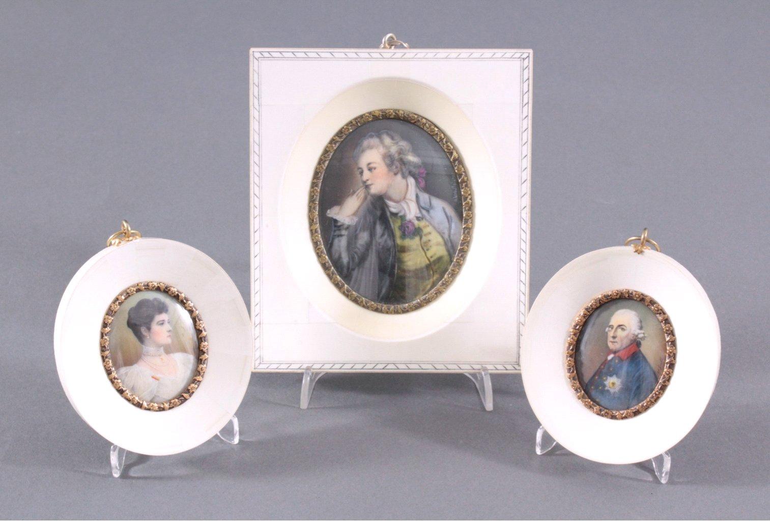 3x Elfenbein Miniatur Malereien