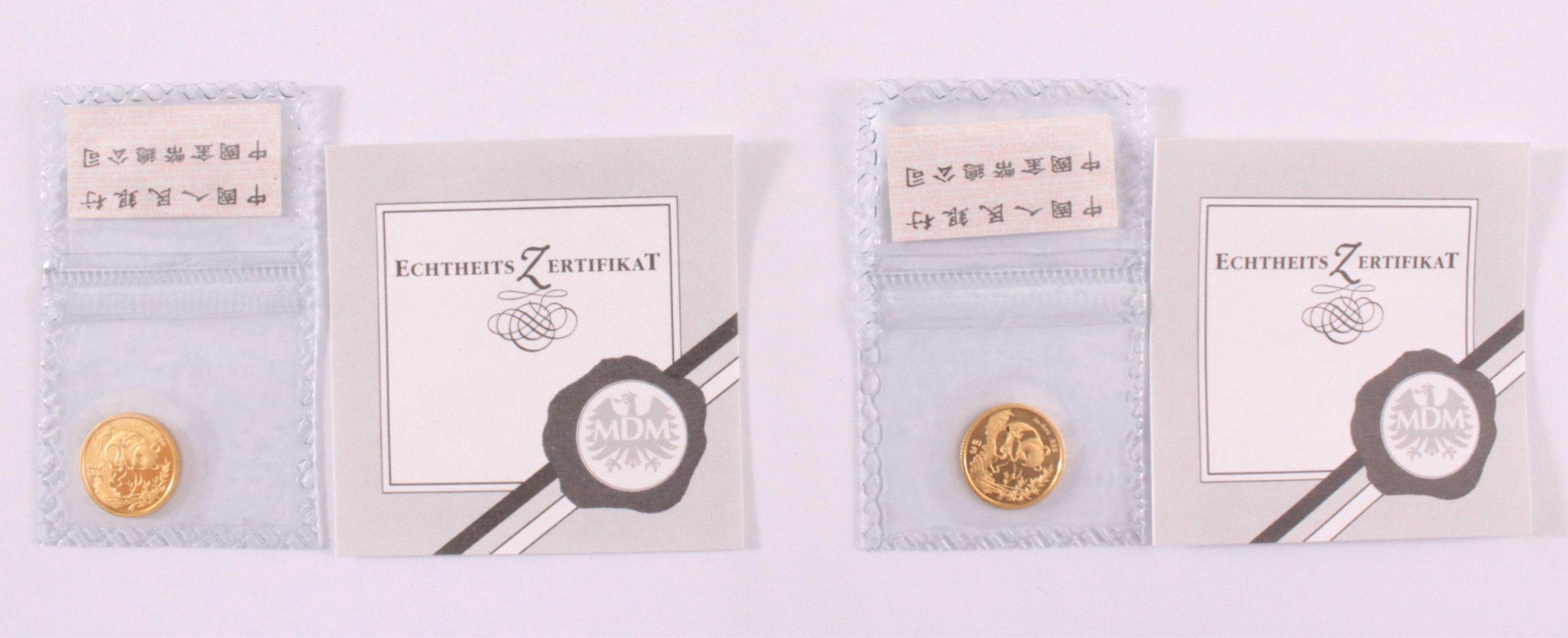 2 5 Yuan Goldmünzen, Panda Motiv/Himmelstempel